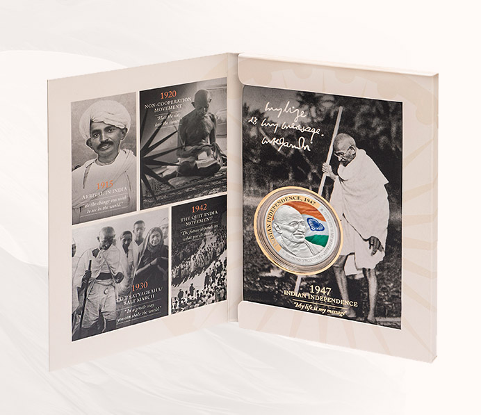 Gandhi Indian Independence Fine Silver Coin
