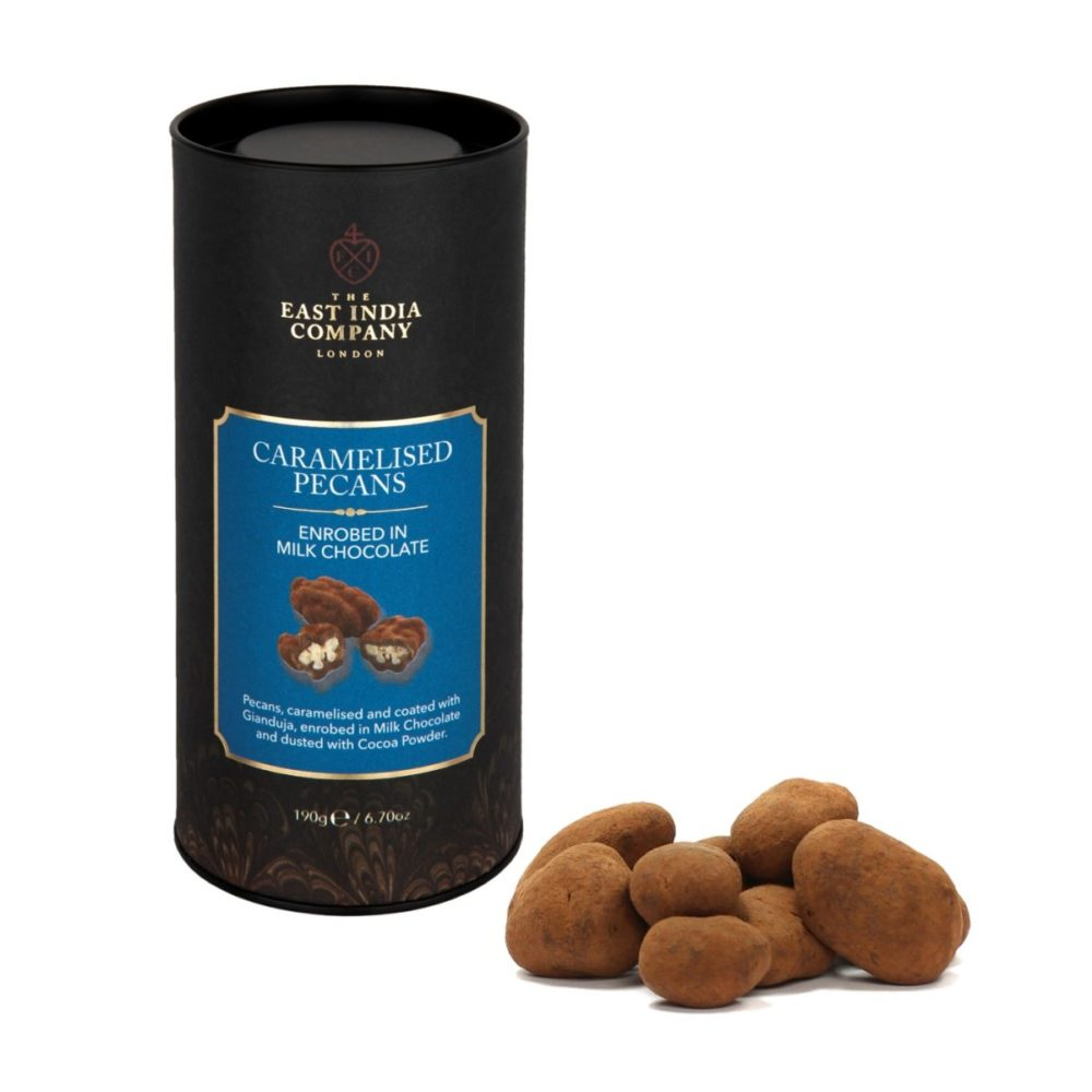 Milk Chocolate Enrobed Caramelised Pecan Nuts Front + Product