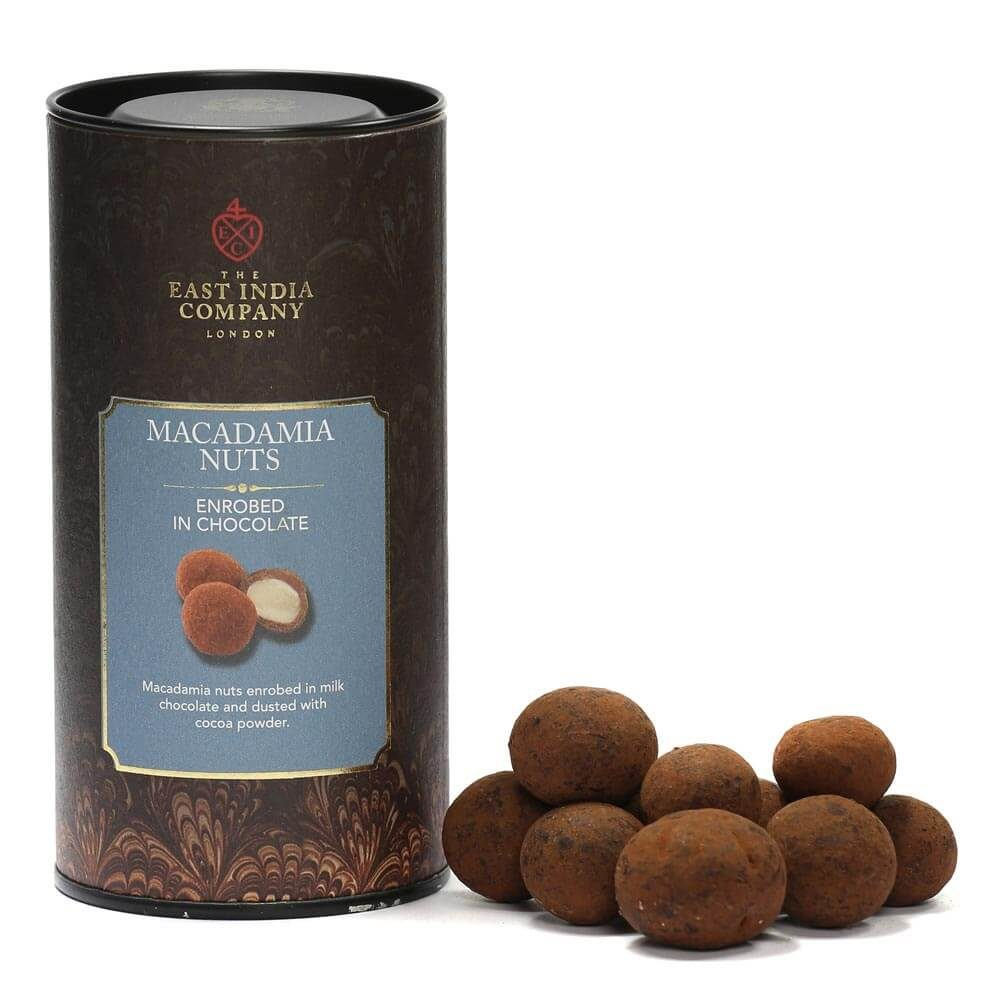 Milk Chocolate Enrobed Macadamia Nuts - Front + Product