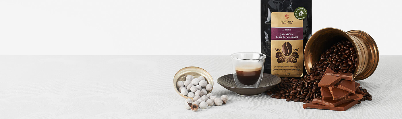 Enjoy a cup of Jamaican Blue Mountain Coffee with our Latte Enrobed Coffee Beans