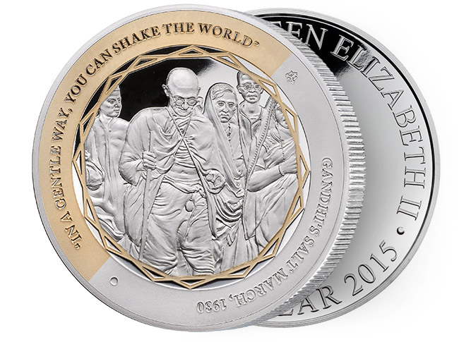 Gandhi Fine Silver Coin, Salt March, Be the Change You Wish to See in the World