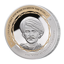 Gandhi Fine Silver Coin 1 of 5
