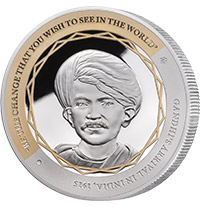 GANDHI FINE SILVER COIN 1 OF 5, ARRIVAL IN INDIA SILVER COIN