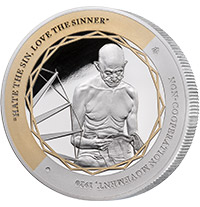 GANDHI FINE SILVER COIN 2 OF 5, NON-COOPERATION MOVEMENT SILVER COIN