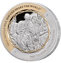 GANDHI FINE SILVER COIN 3 OF 5, SALT MARCH SILVER COIN
