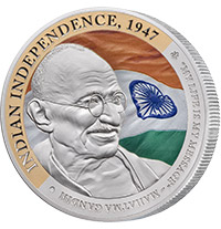 GANDHI FINE SILVER COIN 5 OF 5, INDIAN INDEPENDENCE SILVER COIN