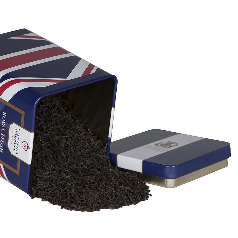 Royal Flush Loose Black Tea Caddy with spilled Tea Leaves