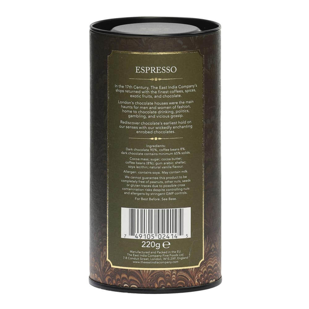 Enrobed Espresso Beans Packaging Rear