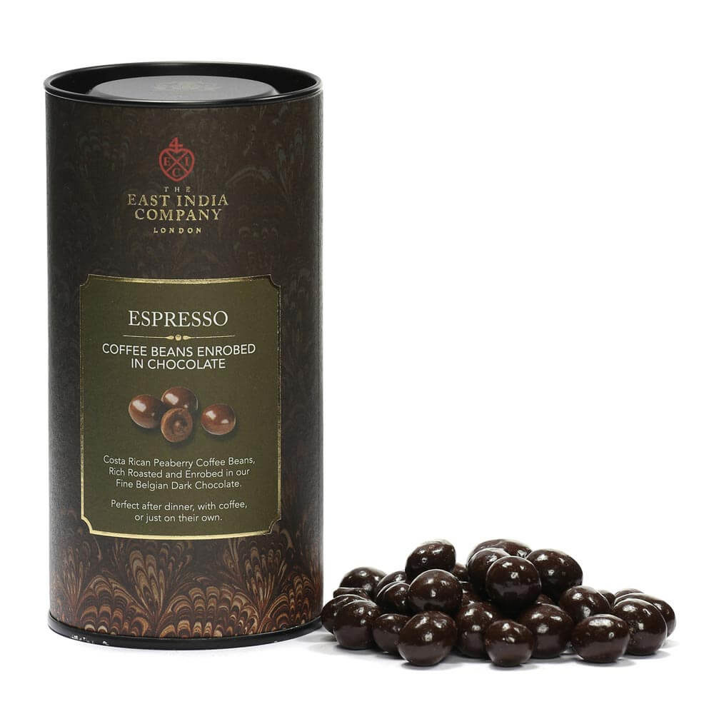 Enrobed Espresso Beans Loose with Packaging