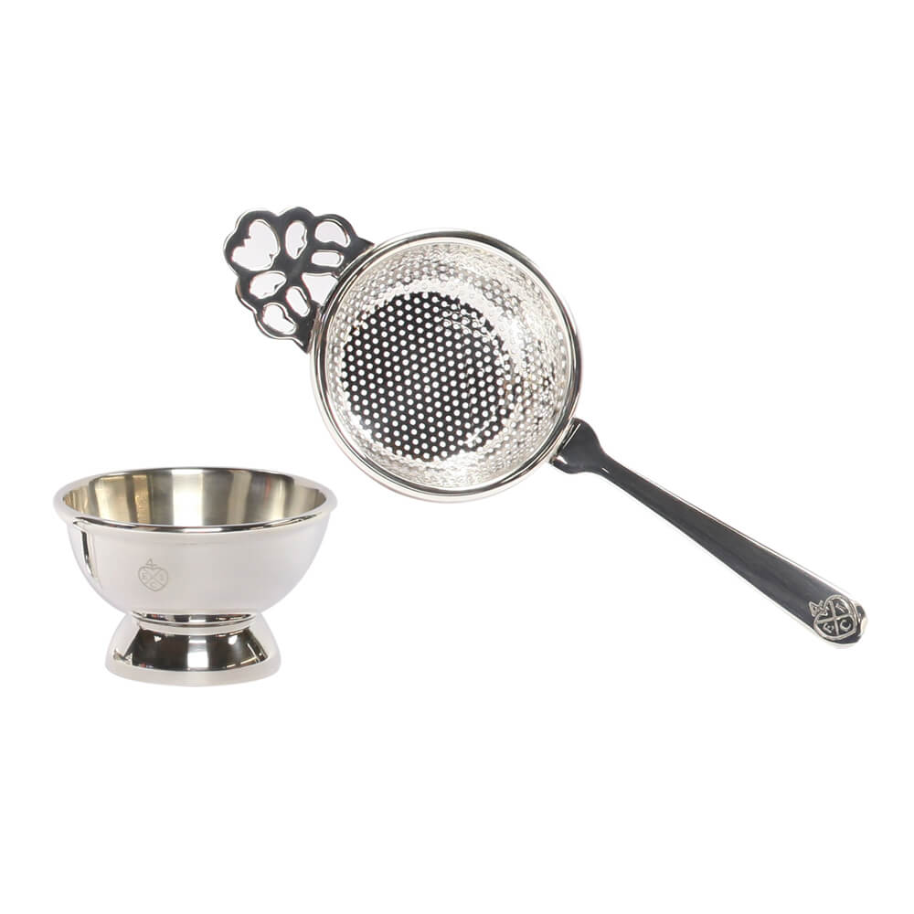 Tea Strainer Silver Plated Mesh And Stand The East