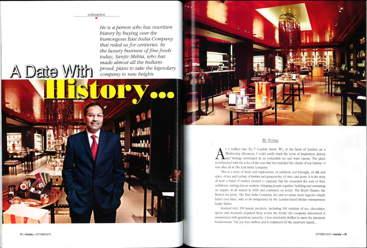 The East India Company was featured in Society Magazine in October 2010.