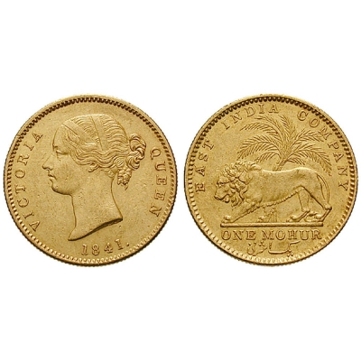 1841 Queen Victoria One Mohur Gold coin
