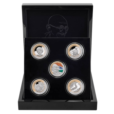 Gandhi Set of Five Fine Silver Coins